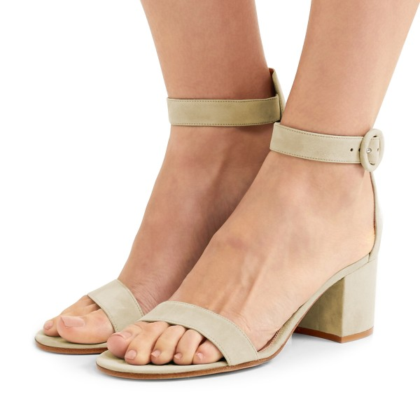 Women's Champagne Suede Chunky Heel Ankle Strap Sandals image 1