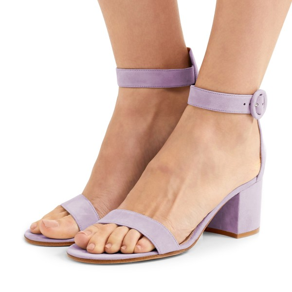 Women's Violet Suede Chunky Heel Ankle Strap Sandals image 1
