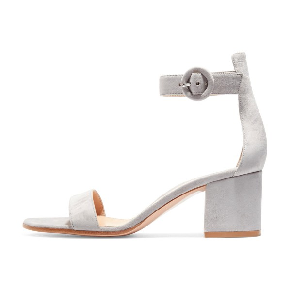 Women's Grey Suede Chunky Heel Ankle Strap Sandals image 4