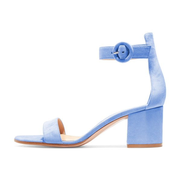 Women's Light Blue Suede Chunky Heel Ankle Strap Sandals image 5