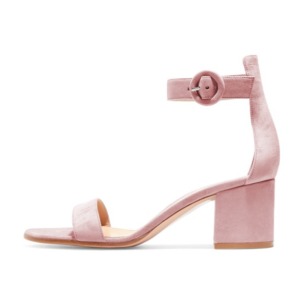 Women's Blush Suede Ankle Strap Heels Chunky Heel Sandals image 4