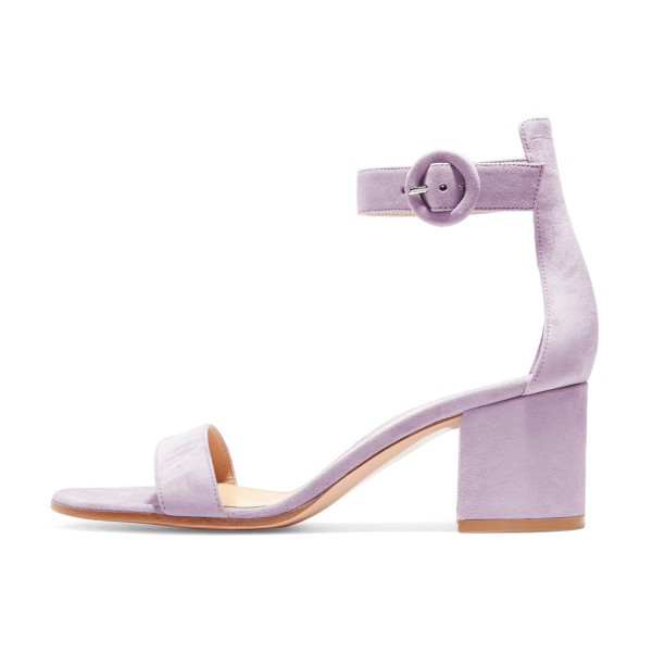 Women's Violet Suede Chunky Heel Ankle Strap Sandals image 4