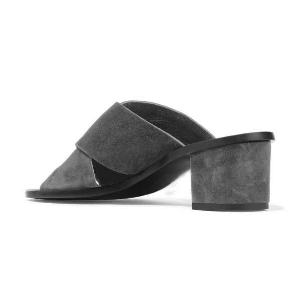 Women's Grey Suede Chunky Heel Sandals image 2