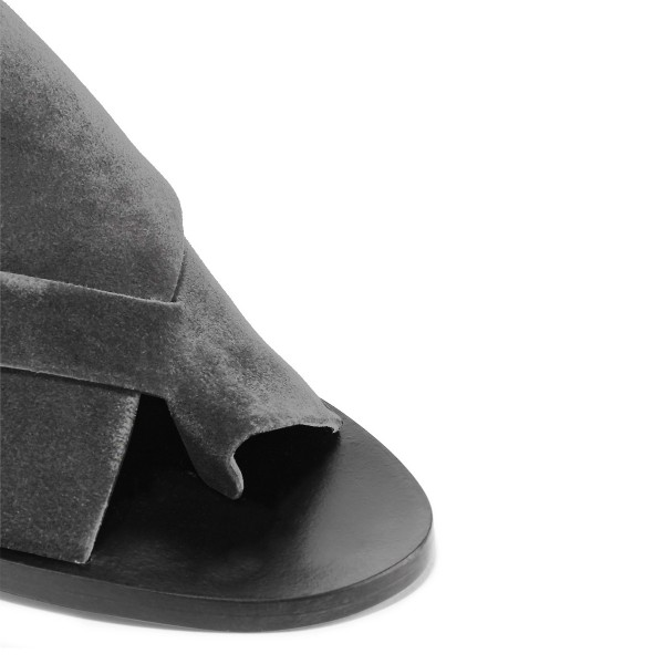 Women's Grey Suede Chunky Heel Sandals image 3