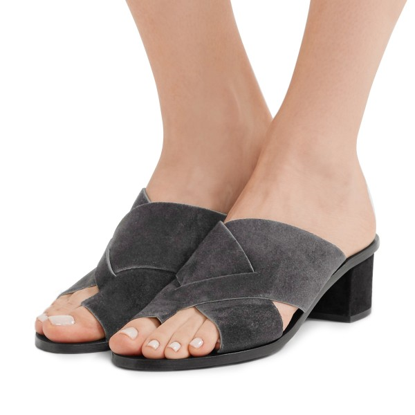 Women's Grey Suede Chunky Heel Sandals image 1