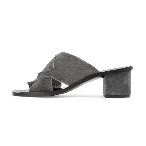 Women's Grey Suede Chunky Heel Sandals image 4