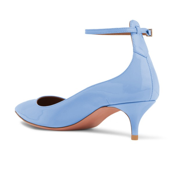 Women's Blue Patent Leather Pointed Toe Ankle Strap Kitten Heels Shoes image 2