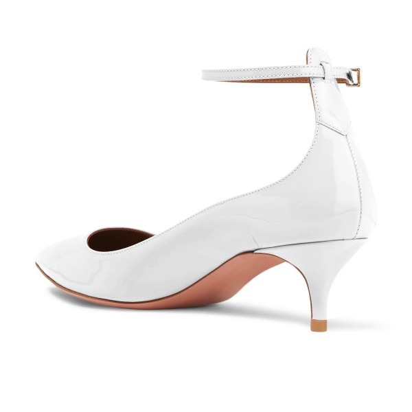 White Patent Leather Ankle Strap Heels Pointed Toe Kitten Heels Shoes image 2