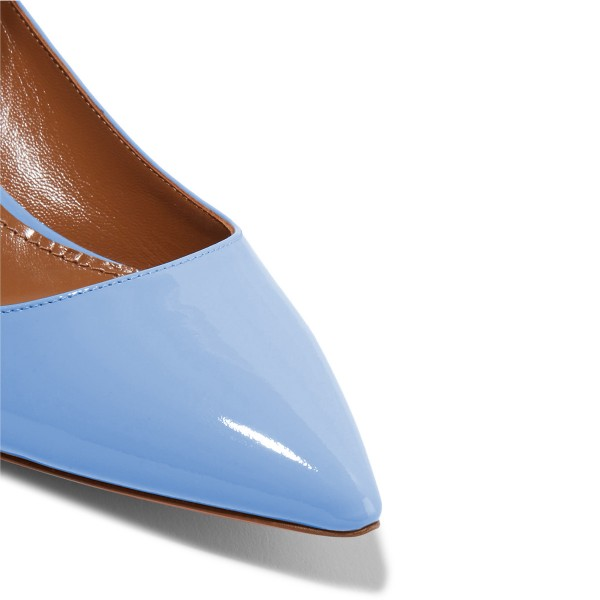 Women's Blue Patent Leather Pointed Toe Ankle Strap Kitten Heels Shoes image 3