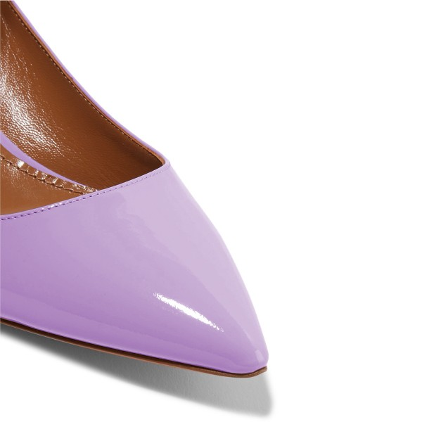 Light Purple Kitten Heels Pointed Toe Ankle Strap Heels Pumps image 3