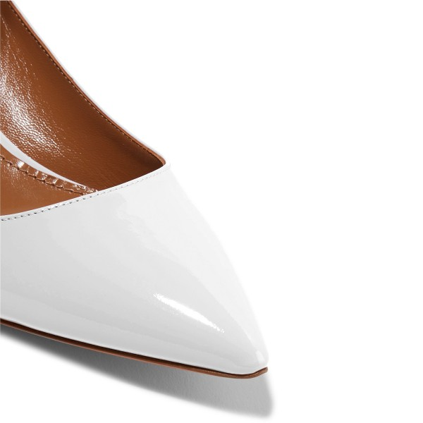 White Patent Leather Ankle Strap Heels Pointed Toe Kitten Heels Shoes image 3