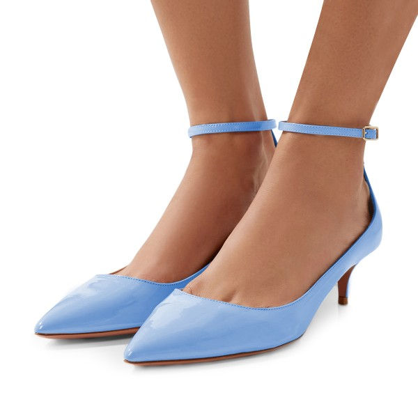 Women's Blue Patent Leather Pointed Toe Ankle Strap Kitten Heels Shoes image 1