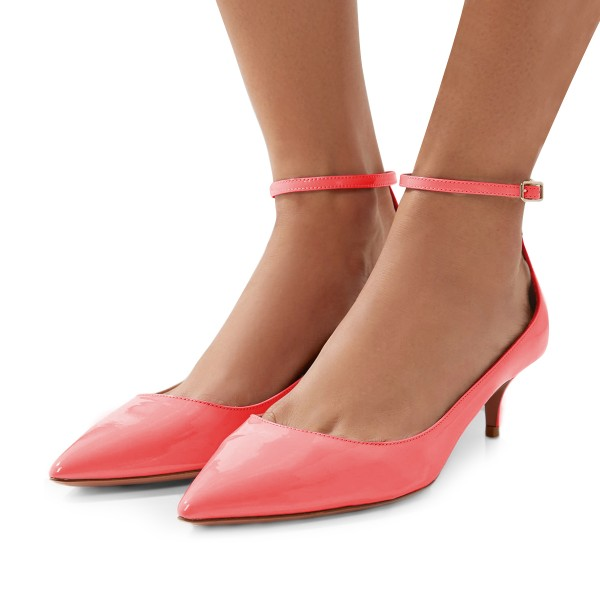 Women's Pink Patent Leather Pointed Toe Ankle Strap Kitten Heels Shoes image 1