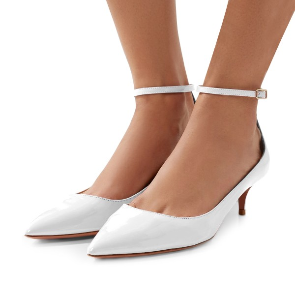 White Patent Leather Ankle Strap Heels Pointed Toe Kitten Heels Shoes image 1