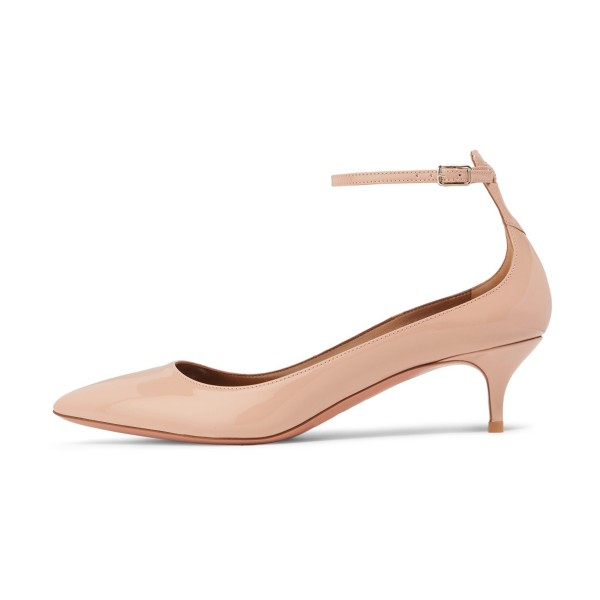 657993ef4d ... Blush Patent Leather Pointed Toe Ankle Strap Kitten Heels Shoes image 4  ...