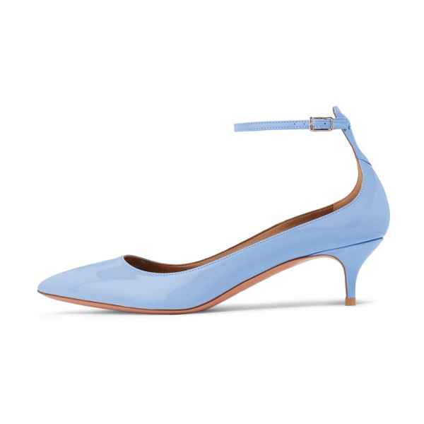 Women's Blue Patent Leather Pointed Toe Ankle Strap Kitten Heels Shoes image 4