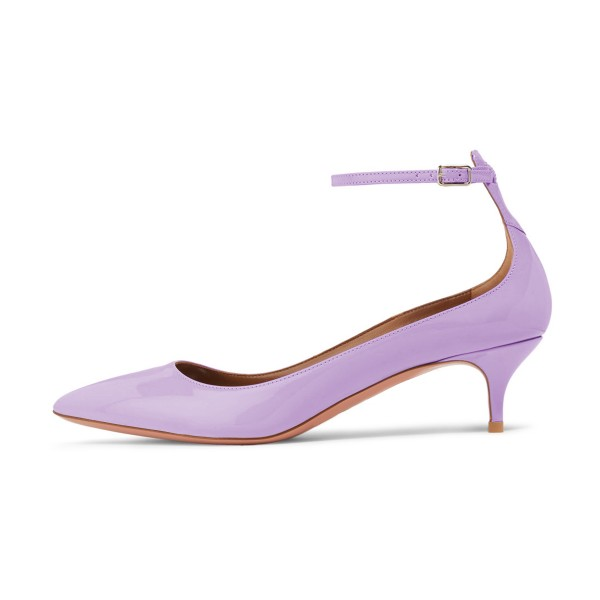 Women's Purple Kitten Heels Pointed Toe Ankle Strap Heels Pumps image 4