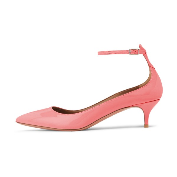 Women's Pink Patent Leather Pointed Toe Ankle Strap Kitten Heels Shoes image 4