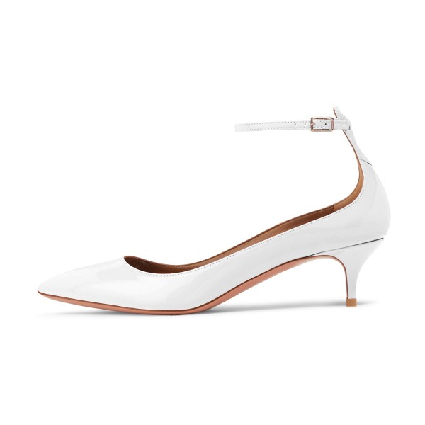 White Patent Leather Ankle Strap Heels Pointed Toe Kitten Heels Shoes image 4