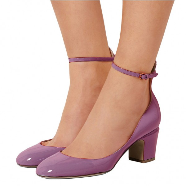 Orchid Round Toe Block Heel Ankle Strap Pumps for Ladies image 4