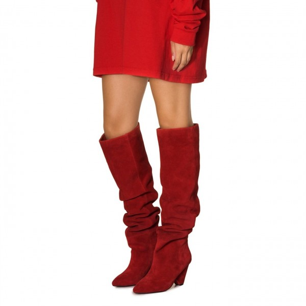 b533bb38469 Red Suede Slouch Boots Pointy Toe Chunky Heels Knee-high Boots image 1 ...