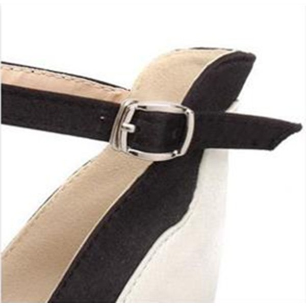 Women's White Platform Heels Buckle Ankle Strap High Heel Shoes Pumps  image 6