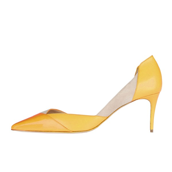 Yellow Kitten Heels Pointy Toe Dorsay Pumps for Ladies image 3