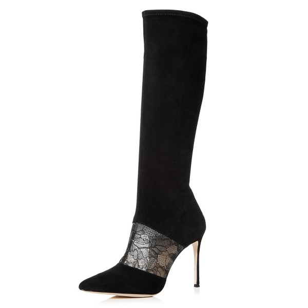 Black Suede Lace Floral Stiletto Boots Mid-Calf Boots image 1