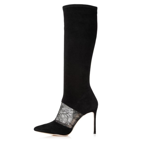 Black Suede Lace Floral Stiletto Boots Mid-Calf Boots image 2