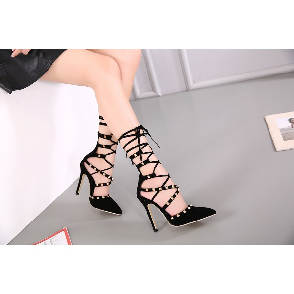 Women's Black Rivets Stiletto Heel Pumps Strappy Shoes image 2