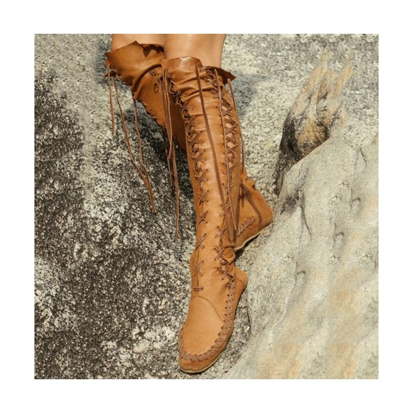 Tan Boots Gladiator Boots Lace up Boots Flat Knee High Boots image 1