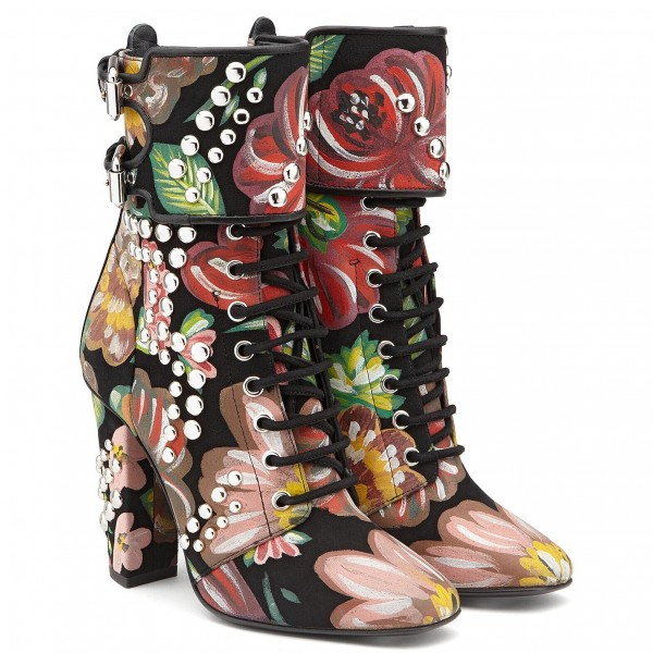 Floral and Studs Lace up boots Buckles Chunky Heels Ankle booties image 4