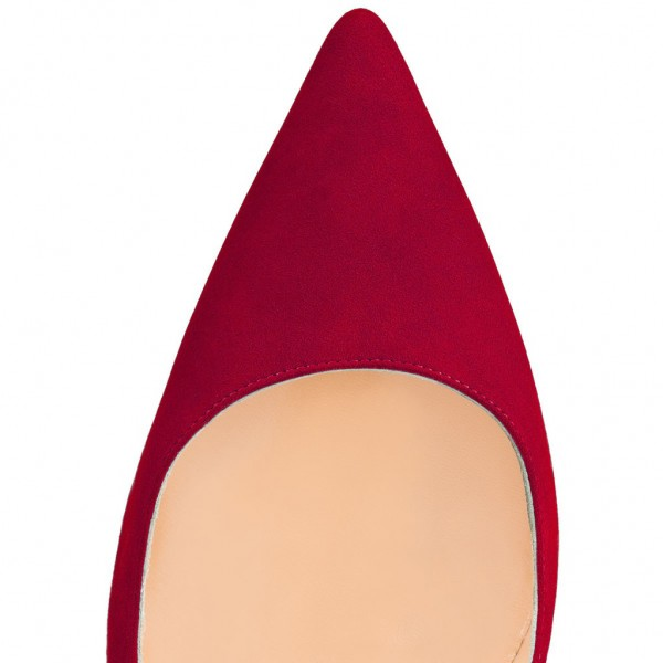 Red 5 Inches Stiletto Heels Pointy Toe Suede Pumps by FSJ image 2