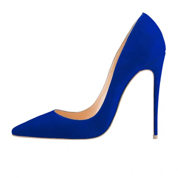 Royal Blue Stiletto Heels Pumps for Office Lady image 3