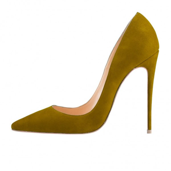 Women's Green Stiletto Heels Pointed Toe Pumps Shoes image 4