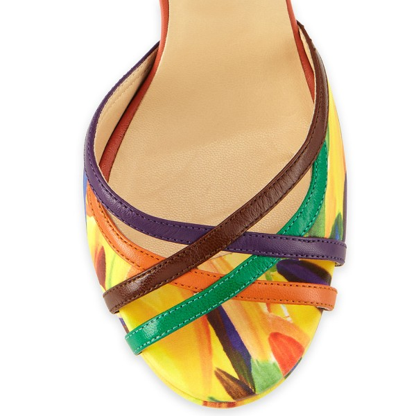 Watercolor Printed Sandals image 3