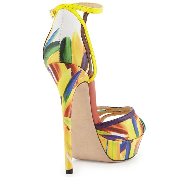 Yellow Floral Heels Platform Sandals Peep Toe Ankle Strap Sandals image 4