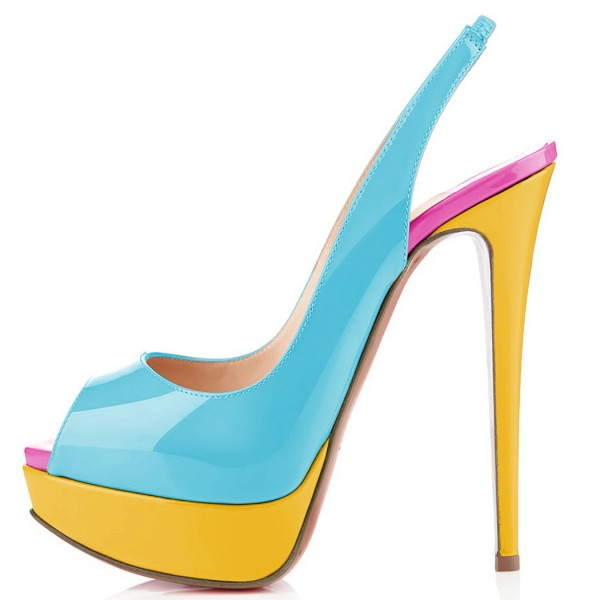 Light Blue Patent Leather Slingback Pumps Peep Toe Chunky Heel Pumps image 2