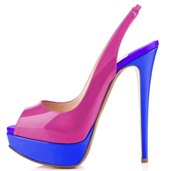 Magenta and Royal Blue Slingback Heels Peep Toe Heels Platform Pumps image 2