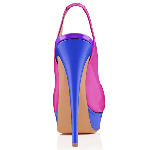 Magenta and Royal Blue Slingback Heels Peep Toe Platform Pumps image 3