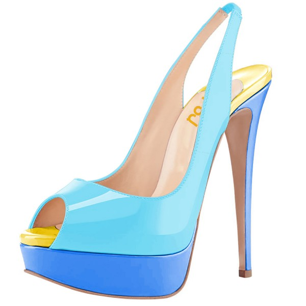 FSJ Blue Patent Leather Slingback Pumps Peep Toe Chunky Heel Pumps image 1