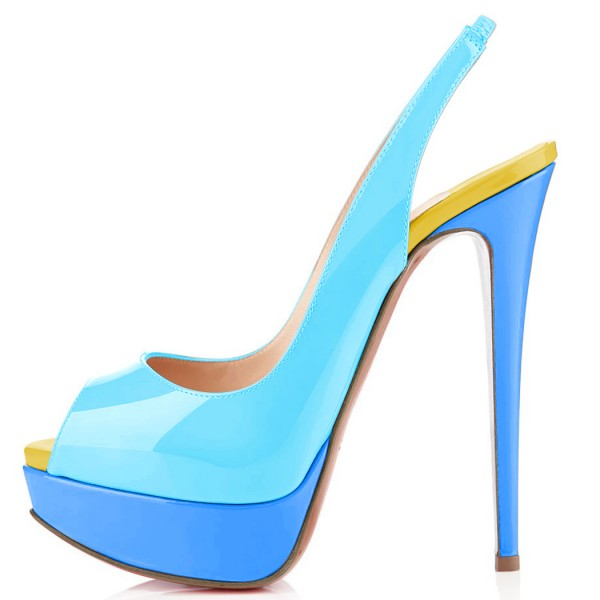 FSJ Blue Patent Leather Slingback Pumps Peep Toe Chunky Heel Pumps image 3