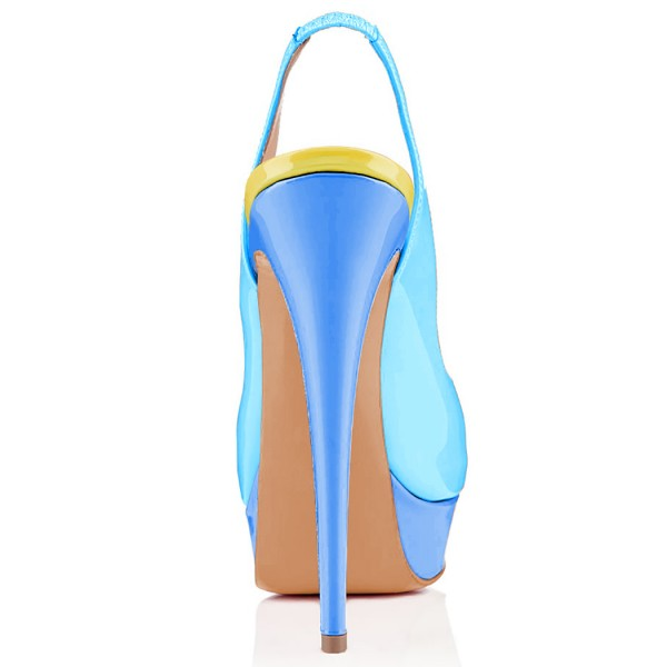 FSJ Blue Patent Leather Slingback Pumps Peep Toe Chunky Heel Pumps image 4