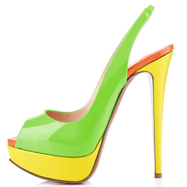 FSJ Lime Patent Leather Slingback Pumps Peep Toe Chunky Heel Pumps image 2