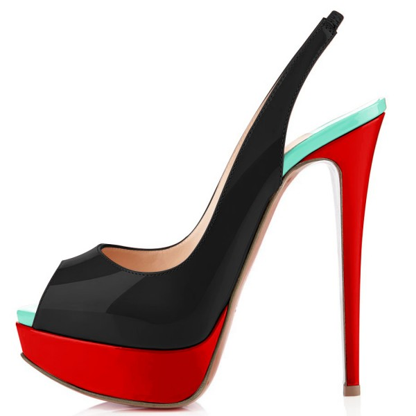 Women's Black and Red High Heels Shoes Women's Slingback Pumps image 2