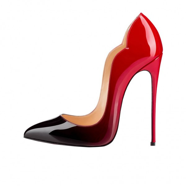 Red and Black Office Heels Pointed Toe Stilettos Pumps image 2