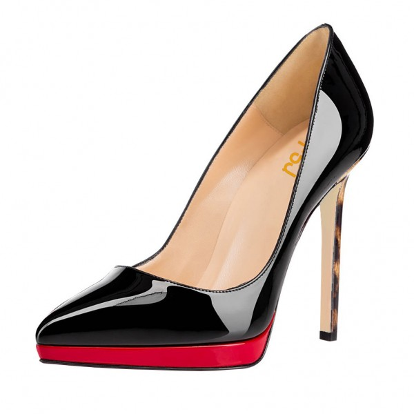 Women's Black and Red Pointed Toe Leopard-print Heels Stiletto Pumps Heels Shoes image 1