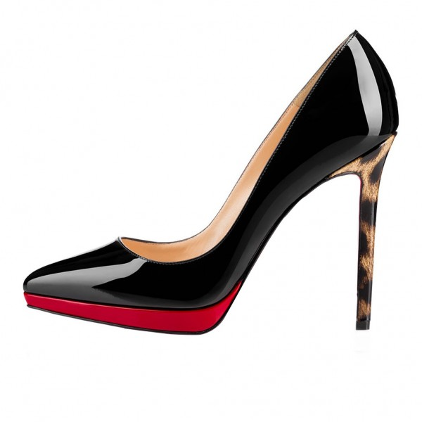 Women's Black and Red Pointed Toe Leopard-print Heels Stiletto Pumps Heels Shoes image 2