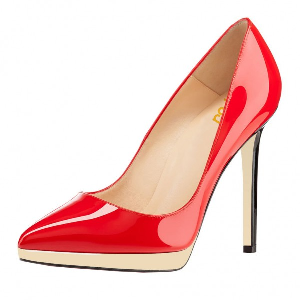 FSJ Red Patent Leather Office Heels Pointy Toe Stiletto Heel Pumps image 1