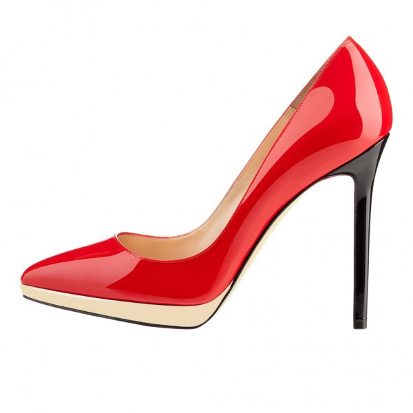 FSJ Red Patent Leather Office Heels Pointy Toe Stiletto Heel Pumps image 2